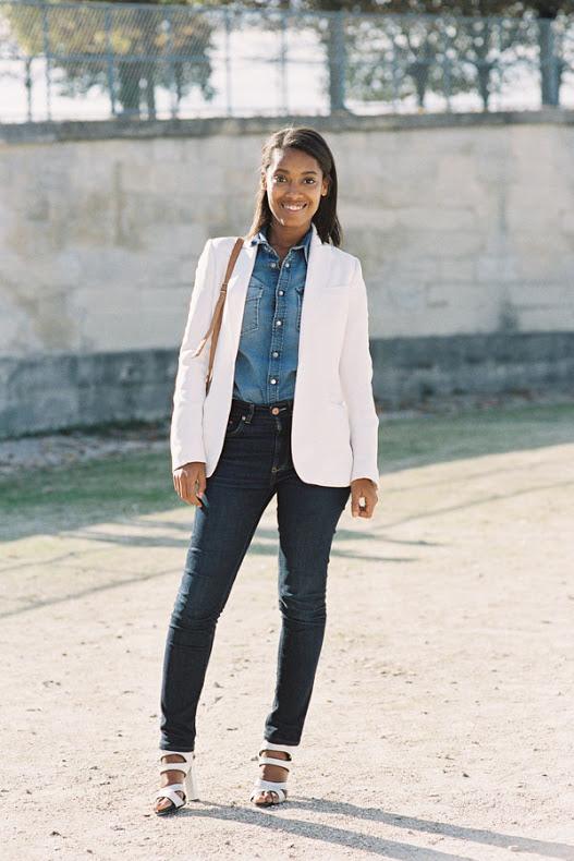 Me gustan las chaquetas acompañadas de materiales más juveniles como el jeans.