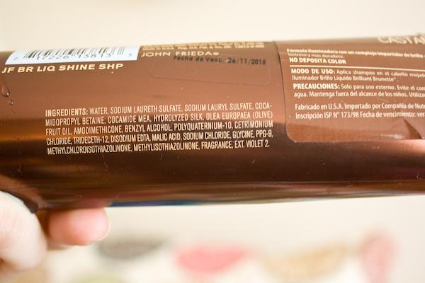 Ingredientes del shampoo