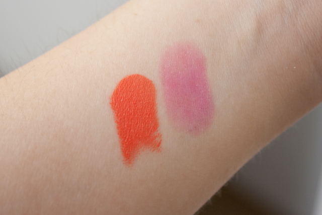 Swatches: 24 Carrot Gold y Pink Shock