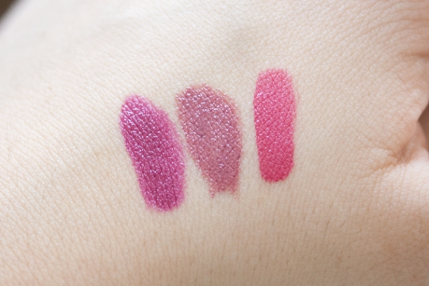 Swatches de izquierda a derecha: Rebel, Rapture y Eternal Rose.