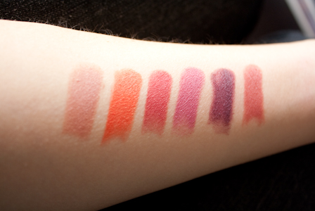 Swatches de izq. a der: Fergie Daily, 24 Carrot Gold, Wine Room, Mauve outta here,Ravin' Raisin, In the flesh.