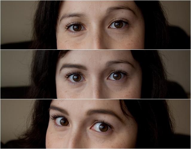 Arriba: sin ningún producto, al medio: solo la ceja izquierda con Dipbrow Pomade de ABH y abajo: con ambas cejas maquilladas.
